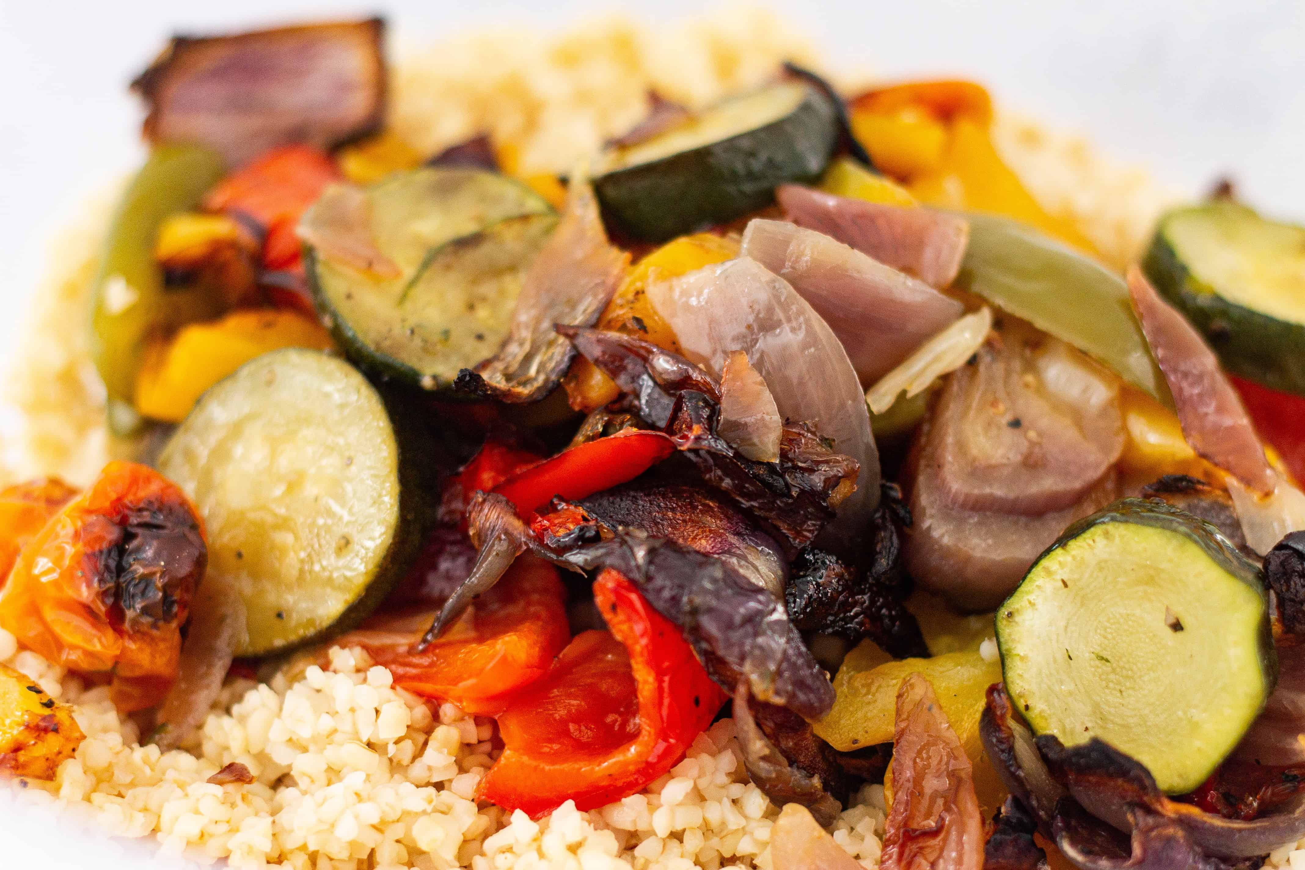 Roast Vegetable and Bulgar Wheat with Vegan Greek Cheese