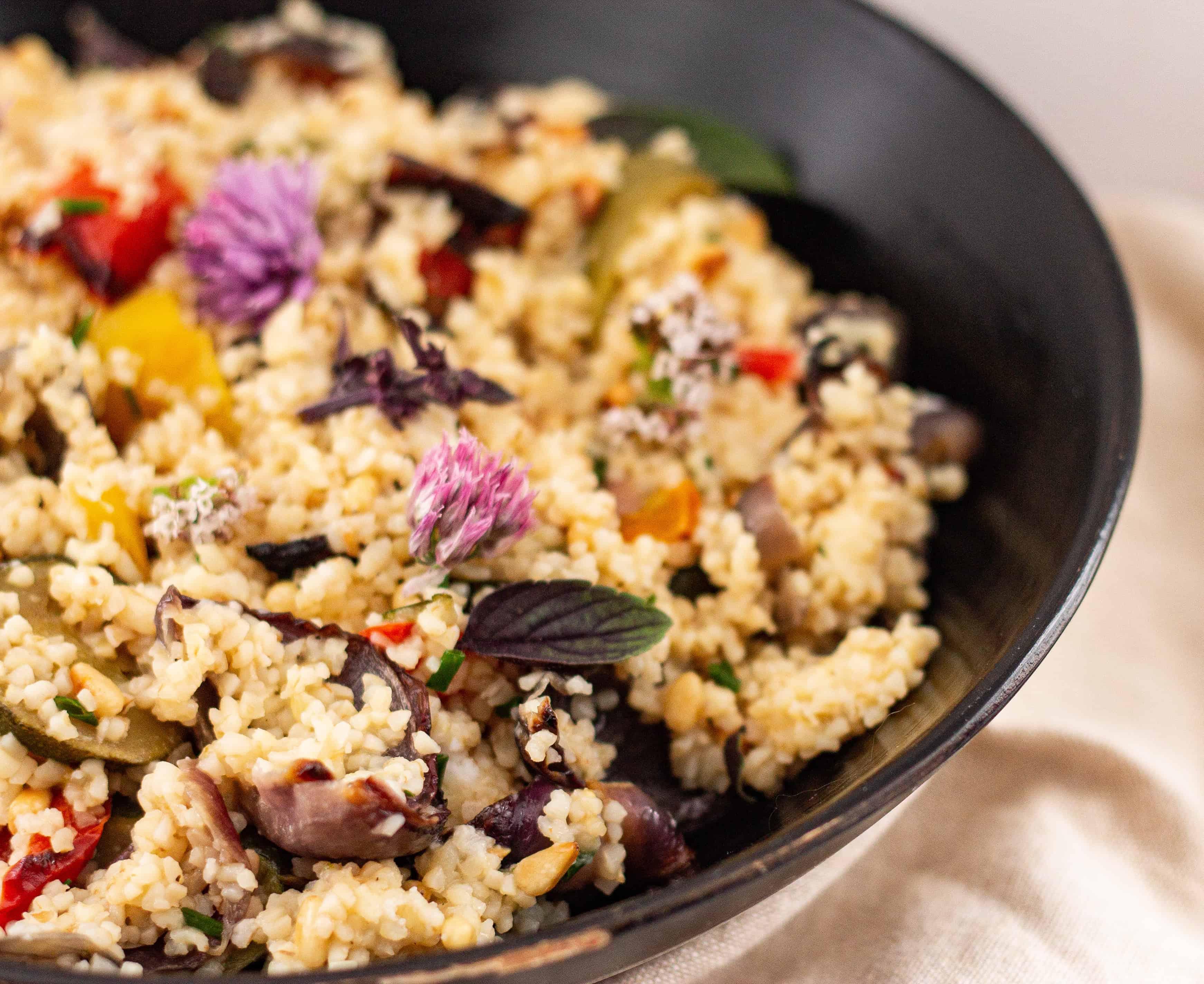 Easy Vegan Bulgur Wheat and Roast Vegetable Recipe